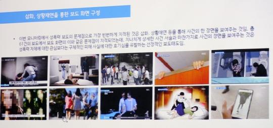 12일 오후 서울 중구 국가인권위원회 인권교육센터에서 열린 '미디어 속 여성차별과 폭력' 토론회에서 발표 자료가 소개되고 있다. ⓒ변지은 기자