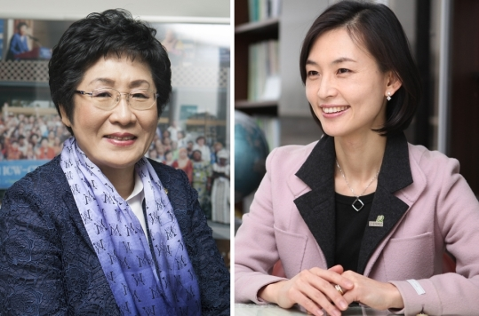 김정숙 세계여성단체협의회 회장(왼쪽)과 양진옥 굿네이버스 회장.