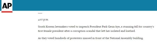 AP통신의 9일 박근혜 대통령 탄핵소추안 가결 관련 속보 내용 ⓒAP통신 캡처
