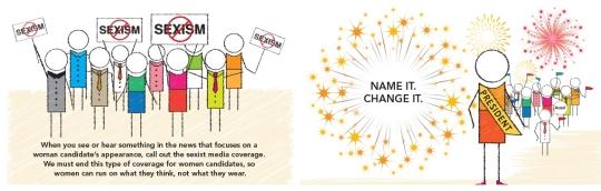 여성 후보나 정치인의 외모에 초점을 맞추는 미디어의 변화를 요구하는 여성미디어센터의 '네임 잇, 체인지 잇(Name It, Change It)' 캠페인. ⓒWomen's Media Center
