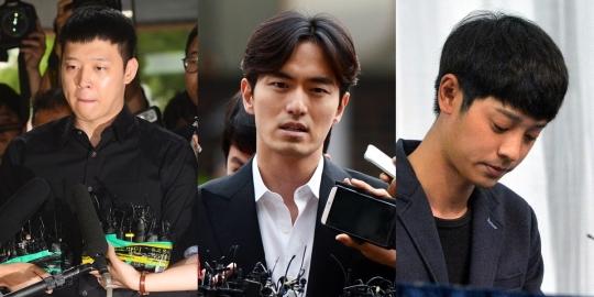 최근 성폭력 사건으로 고소당했던 남성 연예인들이 줄줄이 무혐의 처분을 받았다. (왼쪽부터) 박유천, 이진욱, 정준영씨. ⓒ뉴시스·여성신문