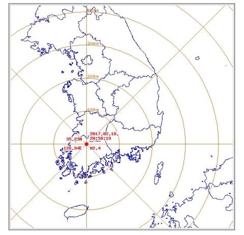 광주 북구서 규모 2.4의 지진이 발생했다. 사진은 지진발생 지점. ⓒ기상청