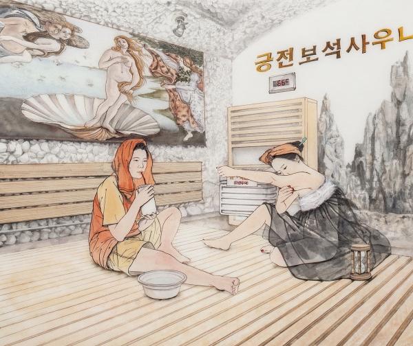 김현정 작가의 최신작인 '목욕탕 시리즈' ⓒ김현정아트센터 제공