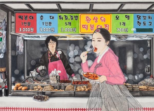 김현정, , 한지 위에 수묵담채, 콜라쥬, 2016