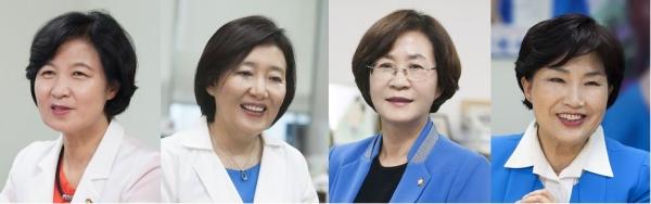 왼쪽부터 더불어민주당 추미애 대표, 박영선 의원, 김상희 의원, 전혜숙 의원. ⓒ뉴시스·여성신문