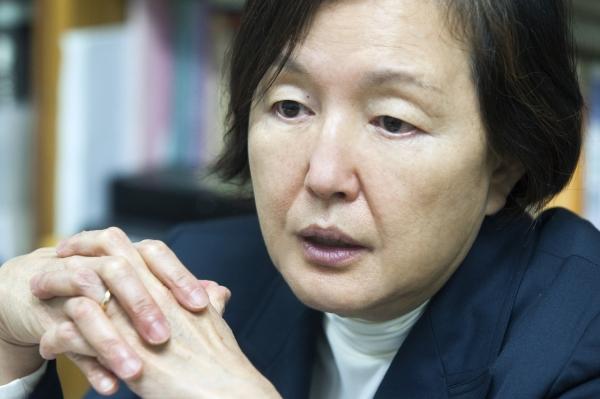 이화여자대학교 총장 선거에서 당선된 김혜숙 철학과 교수. ⓒ이정실 사진기자