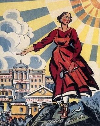 붉은 옷을 입은 여성이 망치를 들고 뒷편의 도서관, 어머니의집, 여성노동자클럽, 탁아소 등을 가리키는 포스터. 대다수가 문맹이었던 여성들을 대상으로 전시회와 토론회, 포스터 제작이 이뤄졌고 독자들을 위해 다양한 읽을거리를 만들어야 했다. ⓒradical.ru