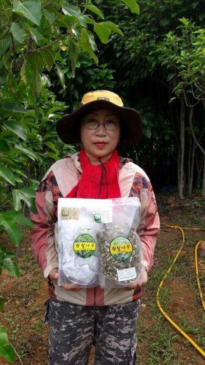 이나미 '보물섬 황칠' 대표가 자신이 개발한 황칠건재 제품을 보여주고 있다. ⓒ이나미씨 제공
