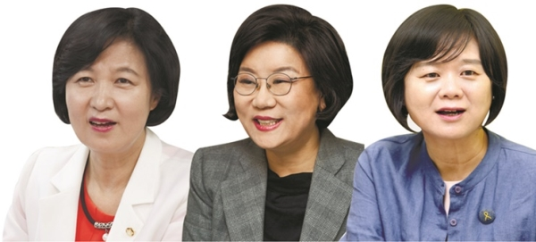 더불어민주당 추미애 대표, 바른정당 이혜훈 대표, 정의당 이정미 대표