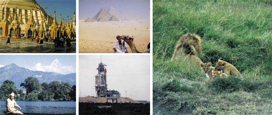 (왼쪽상단부터 시계방향으로) 미얀마 랭군사원. 이집트의 기자 피라미드. 케냐의 마사이 마라 국립공원. 미국 플로리다주의 케네디 우주센터. 우주선'디스커비리호'발사 이틀 전에 촬영했다. 네팔의 포카라.