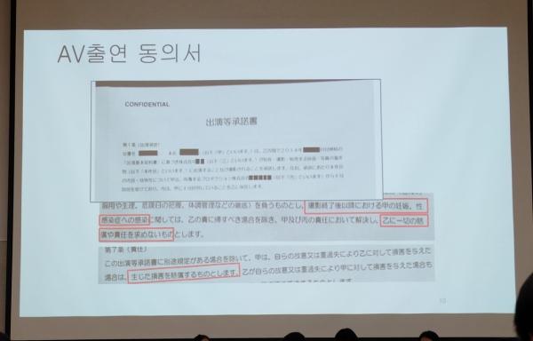 가나지리 가즈나 PAPS(팝스) 공동상담지원사업 상담매니저가 '일본AV산업 실태와 피해사례'를 발표하며 보여준 AV 출연 동의서. ⓒDSO