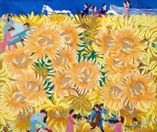 금빛 해바라기-그림속의 가족여행 oil on canvas 2017 ⓒ전명자