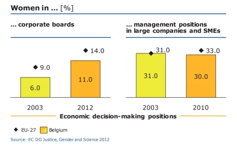 벨기에 공공부문 이사회 내 여성 비율은 2003년부터 2012년까지 9년간 6%에서 11%로 약 두 배 증가했다. ⓒEC DG Justice, Gender and Science 2012