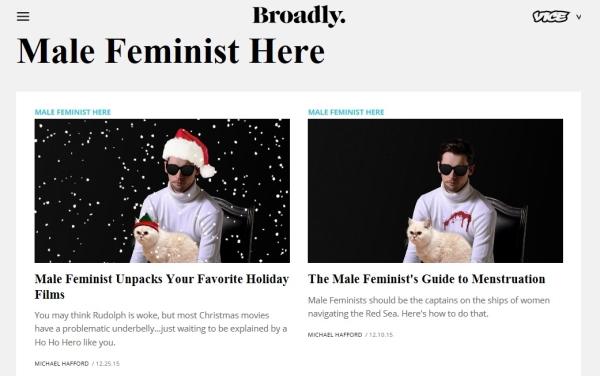 마이클 해포드가 연재했던 브로들리의 남성 페미니스트 칼럼 페이지. ⓒbroadly.vice.com
