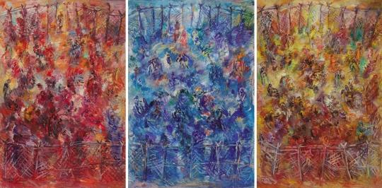 개화-땅-빨강,파랑,노랑, 2012, 130x194cm(each), Oil on Canvas. ⓒ성곡미술관