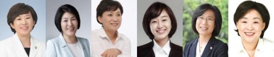 여성 국회의원 6명이 의정 활동 중 아름다운 말을 써 선플상을 수상했다. 왼쪽부터 새누리당 민병주, 손인춘, 새정치민주연합 김현미, 통합진보당 김재연, 정의당 김제남, 심상정 의원이다.
