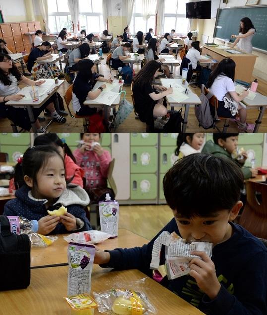우리나라 아동의 삶의 만족도가 OECD 회원 국 중 최하위, 결핍 수준은 가장 높았다. 윗 사진은 여자 고등학교 교실에서 수업을 듣는 학생들, 아래 사진에서 초등학생들이 빵을 먹고있다. ⓒ뉴시스·여성신문