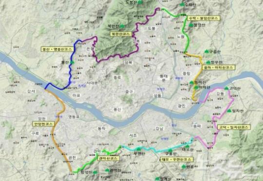 157km에 이르는 서울둘레길. 8개 코스로 나뉘어져 있다. ⓒ서울시 제공