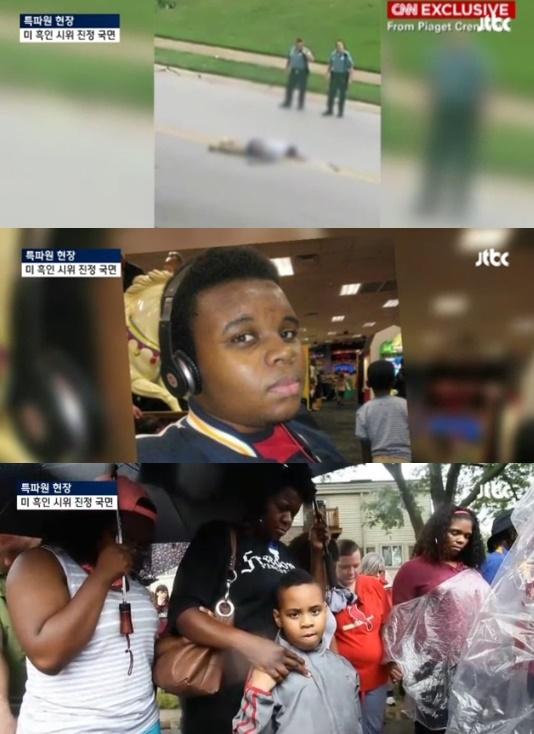 비무장 흑인 청년을 사살한 백인 경찰에 대해 불기소 판결이 나왔다. 미국 전역은 인종차별 논란으로 뜨겁게 달아오르고 있다. ⓒjtbc 화면캡처