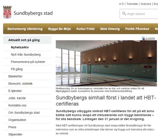 스웨덴 순드비베리 시 당국의 제3의 탈의실 개장 관련 안내문.