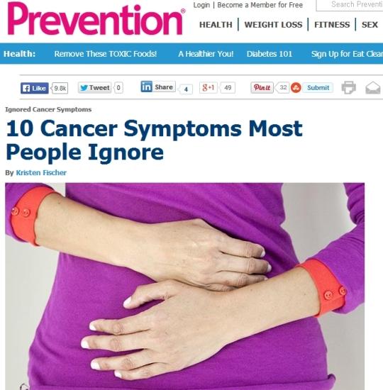 무시하기 쉬운 암 증상 10가지가 공개돼 화제를 모으고 있다. ⓒ프리벤션(http://www.prevention.com/health/health-concerns/ignored-cancer-symptoms) 온라인 캡쳐