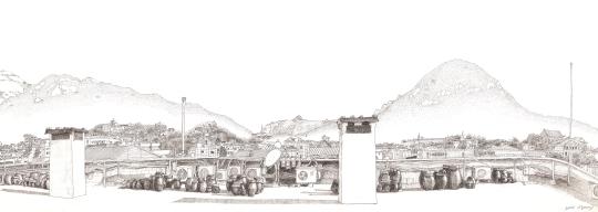 김미경 작 '서촌옥상도 V', 84cm X 29.4cm, 펜화.