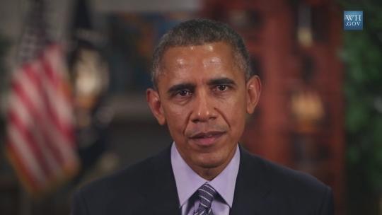 그래미상 시상식에서 상영된 버락 오바마 대통령의 영상 메시지 중 한 장면.  출처 : 백악관 www.whitehouse.gov