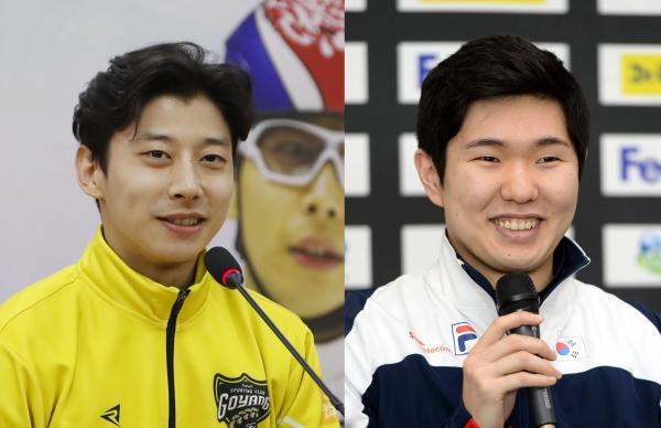 왼쪽부터 곽윤기, 김태윤 ⓒ뉴시스·여성신문
