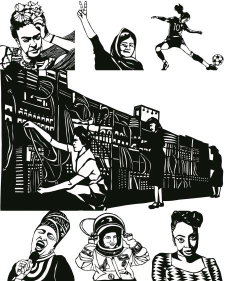 『세계 곳곳의 너무 멋진 여자들』에 실린 여성들. (왼쪽 위부터 시계방향으로) 프리다 칼로, 말랄라 유사프자이, 마르타, 에니악 프로그래머들, 치마만다 응고지 아디치에, 칼파나 차울라, 미리엄 마케바 ⓒ출판사 티티
