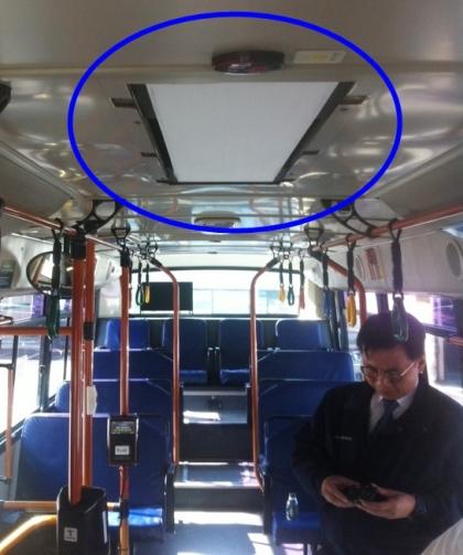 서울 시내버스에 공기정화필터를 설치한 모습 ⓒ서울시 제공