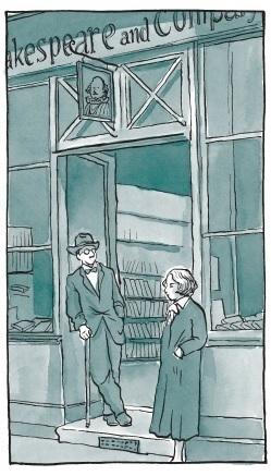 앨리슨 벡델이 자신의 책 『펀 홈(Fun Home』에 그린 실비아 비치(오른쪽)와 셰익스피어 앤드 컴퍼니의 모습 ⓒ출판사 움직씨