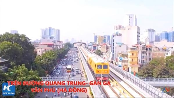 시범 운행 중인 하노이 지상철의 모습. 사진 유튜브 영상 캡처 - 작성자 Hanoi Metro ⓒ송수산
