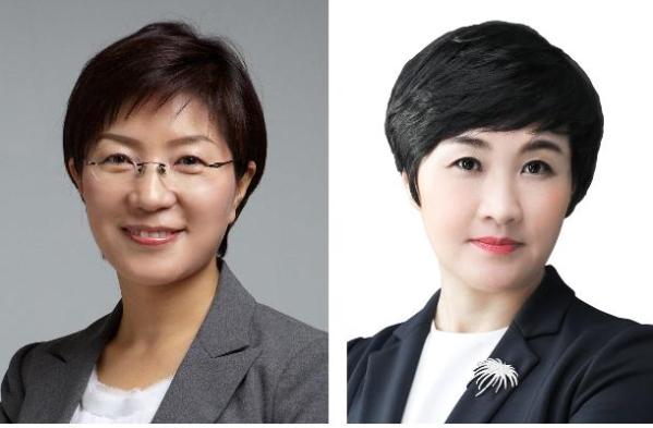 서울 은평구청장 선거에 출마한 김미경 더불어민주당 후보(왼쪽), 홍인정 자유한국당 후보