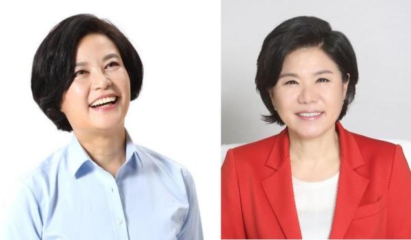 서울 서초구청장 선거에 출마한 이정근 더불어민주당 후보(왼쪽), 조은희 자유한국당 후보.