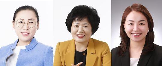 (왼쪽부터)더불어민주당 안선영·정옥진 후보, 바른미래당 홍나영 후보