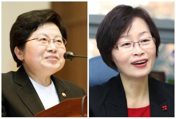 (왼쪽부터) 정현백 여성가족부 장관과 조현욱 (사)한국여성변호사회 회장 ⓒ여성신문