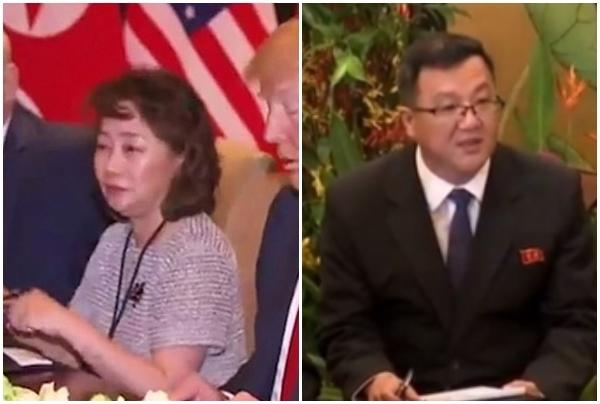 (왼쪽부터) 12일 싱가포르 북미정상회담 통역사인 미국 측 이연향 미 국무부 소속 통역국장과 김주성 북한 노동당 국제부 8과 부원. ⓒ자유아시아방송 영상 캡처