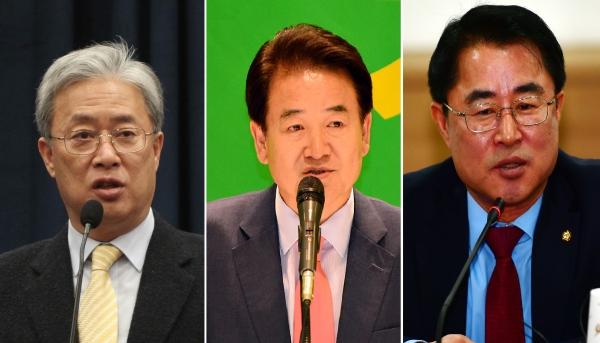 차기 당권에 도전하는 민주평화당 의원들. 왼쪽부터 유성엽, 정동영, 최경환 의원. ⓒ뉴시스·여성신문