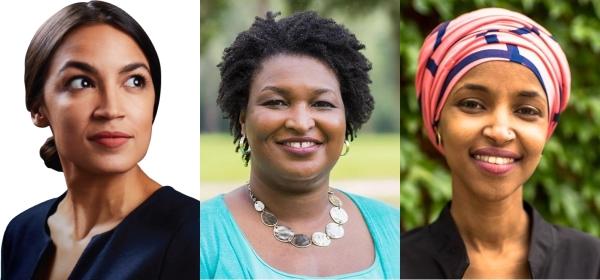2018년 미국 중간선거를 앞둔 당내 경선(프라이머리)에서 주목받은 여성 후보들. 왼쪽부터 알렉산드리아 오카시오-코테즈 뉴욕주 연방하원의원 후보, 스테이시 에이브럼스 조지아주 주지사 후보, 일한 오마르 미네소타주 연방하원의원 후보. ⓒ각 후보 선거캠페인 웹사이트, 페이스북 프로필 사진.