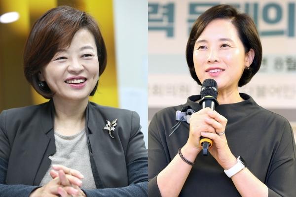 여성가족부 진선미 장관 내정자, 부총리 겸 교육부 장관 유은혜 내정자.(왼쪽부터) ⓒ여성신문
