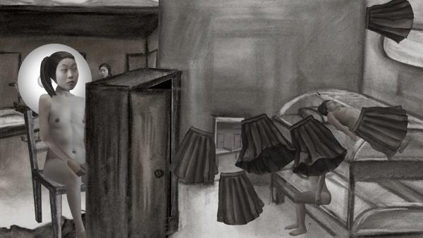 이영주, 수치스러운 파랑, 3채널 디지털 애니메이션 설치, 10분 23초, 가변크기, 2016