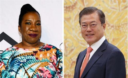 미투운동 창시자인 미국의 사회운동가 타라나 버크(왼쪽)와 문재인 대통령이 노벨평화상 후보로 거론되고 있다. ⓒ뉴시스ㆍ여성신문