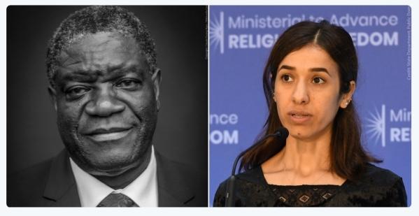 올해 노벨평화상을 수상한 콩고민주공화국 산부인과 의사 드니 무퀘게(왼쪽)와 야지디족 출신 인권운동가 나디아 무라드. 사진 출처 노벨상 페이스북 ⓒ노벨상 트위터(@NobelPrize)