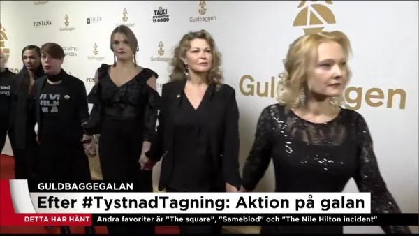 지난 1월 22일 스웨덴 스톡홀름에서 열린 스웨덴 최대 영화제인 굴드바게 시상식(Guldbaggegalan) 날, 스웨덴 여배우들은 성폭력에 반대하는 의미로 검은 옷차림에 손을 맞잡고 입장했다. ⓒTV4 영상 캡처