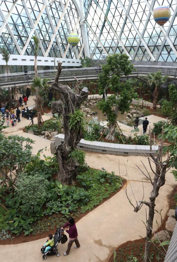 서울식물원 식물문화센터 내 온실을 관람객들이 둘러보고 있다. 밖의 날씨는 쌀쌀했지만 온실 안은 후덥지근했다.