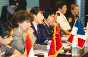 On July 8, the National Police Agency invited women police representatives from 12 countries to the first World Women Police Conference, where participants talked about the Status and Countermeasures concerning Prostitution