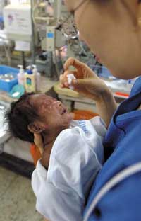 Velmas baby needs regular check-ups because of retinal disorders common in premature babies.