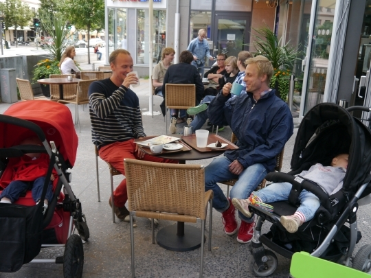 Latte Dads on parental leave in a cafe in central Stockholm, Sweden.