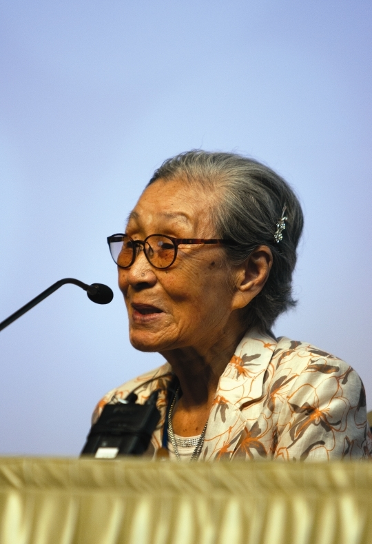 13th KOWIN annual conference held on August 28 at Daejeon Convention Center. Comfort women survivor Kim Bok-dong is speaking at a special session.