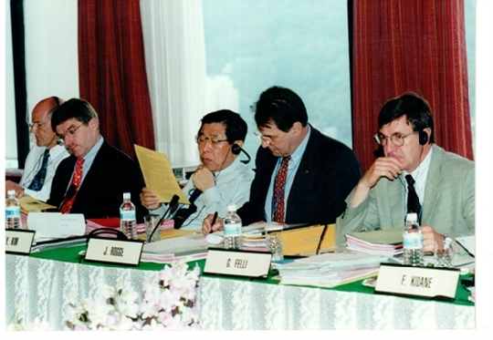 Thomas Bach on the left. He was the member of the International Olympic Committee Executive Board between 1996 and 2000.